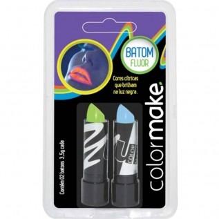 Batom Color Make Fluor Azul e Verde ref. 3217 - Colormake