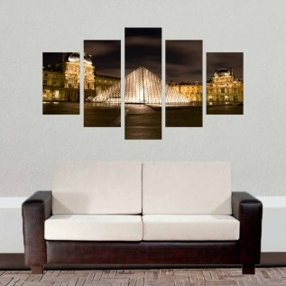 Conjunto de 5 quadros decorativos em Canvas - Museu Louvre