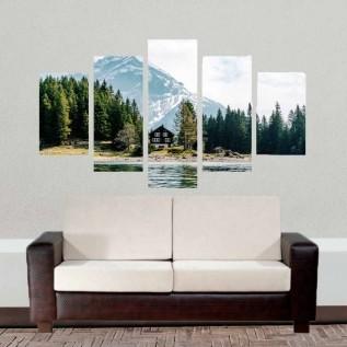 Conjunto de 5 quadros decorativos em Canvas - Paisagem