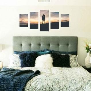 Conjunto 5 telas Personalizado em Canvas - Sua foto