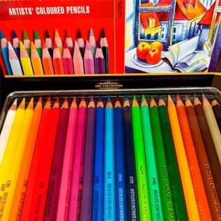 Estojo Metálico Lápis de cor 24 Cores Mod.3824 Polycolor