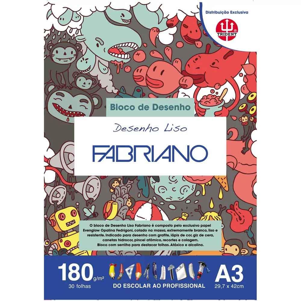 Bloco A3 c/30 folhas Desenho liso 180g - Fabriano