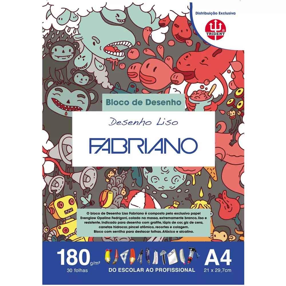 Bloco A4 c/30 folhas Desenho liso 180g - Fabriano