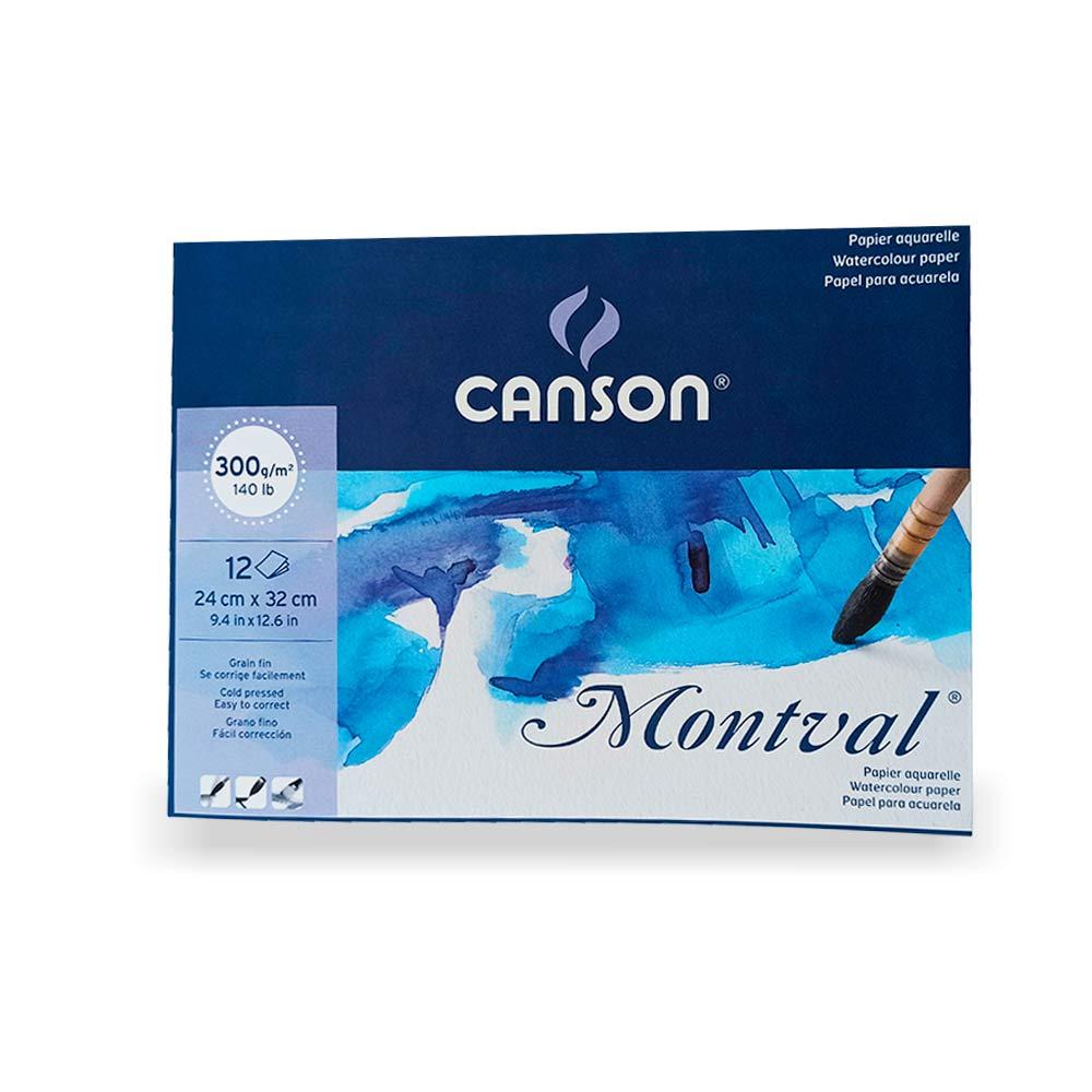 Bloco para Aquarela c/12 folhas Montval 24X32 - Canson 300g