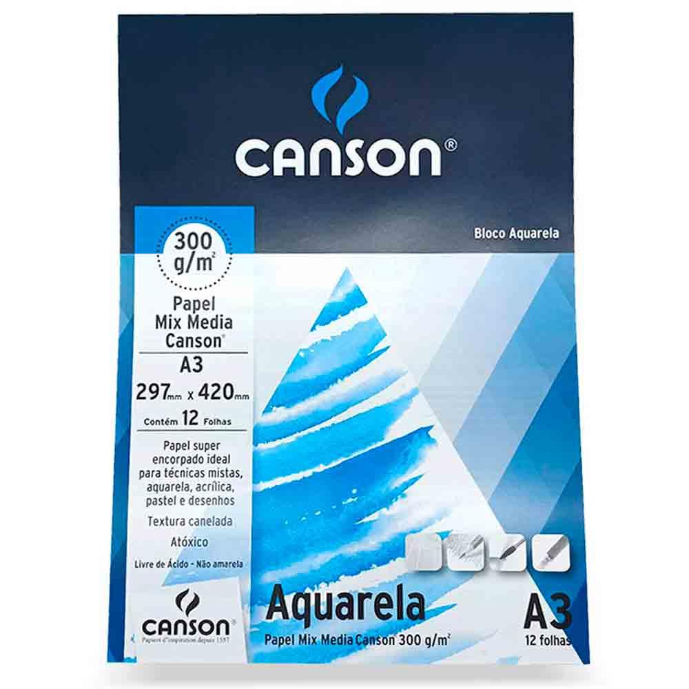 Bloco para Aquarela Mix Media c/12 folhas A3 - Canson 300g