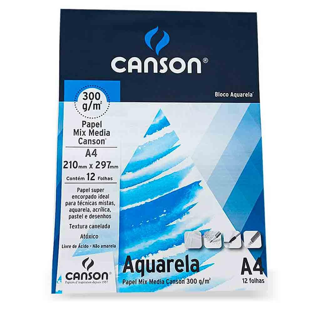 Bloco para Aquarela Mix Media c/12 folhas A4 - Canson 300g