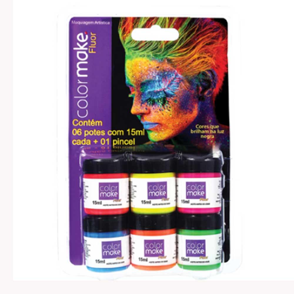 Cartela Líquido  06 cores Fluor ref. 1003 - Colormake
