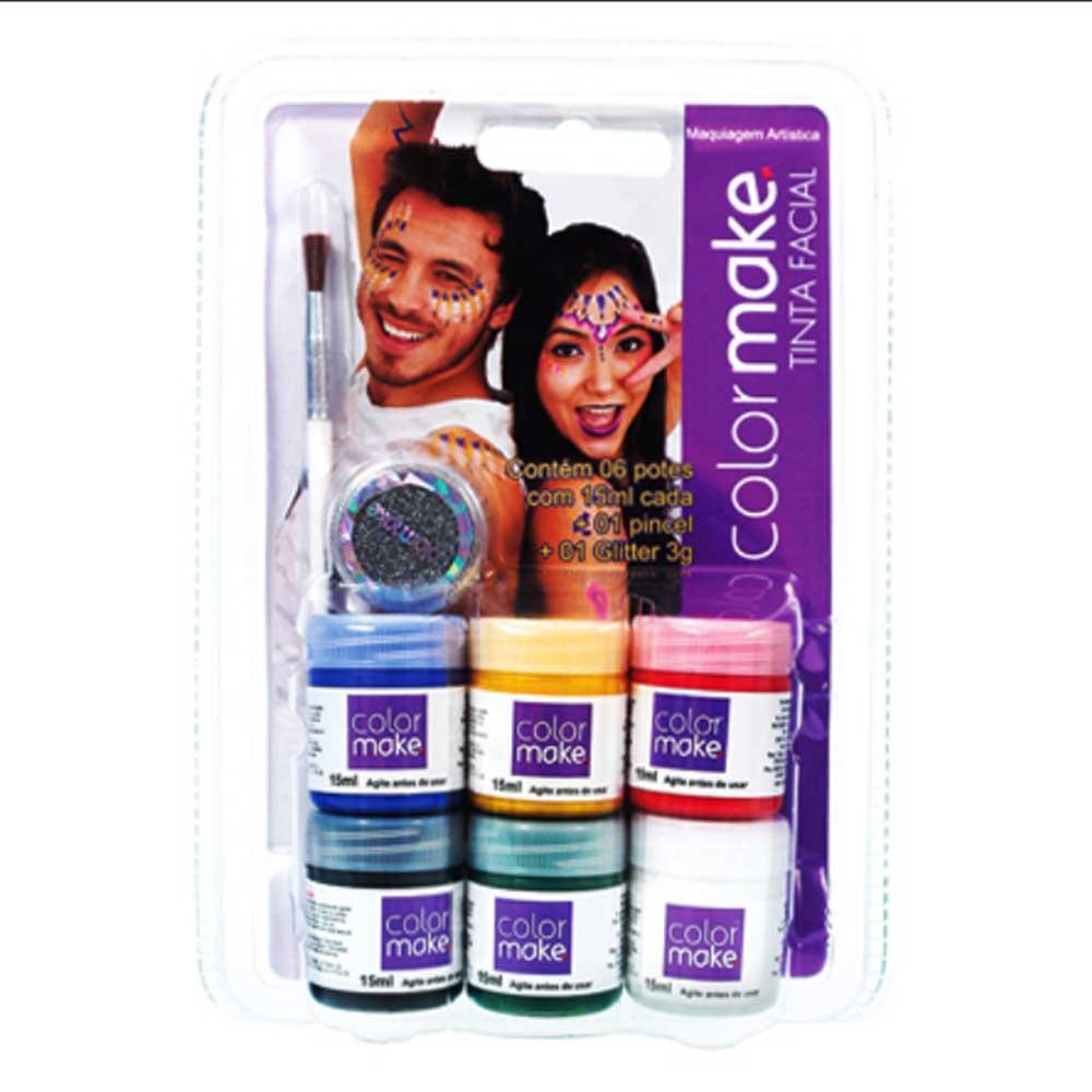 Cartela Tinta Líquida com 06 cores + pincel + glitter ref.1000 - Colormake