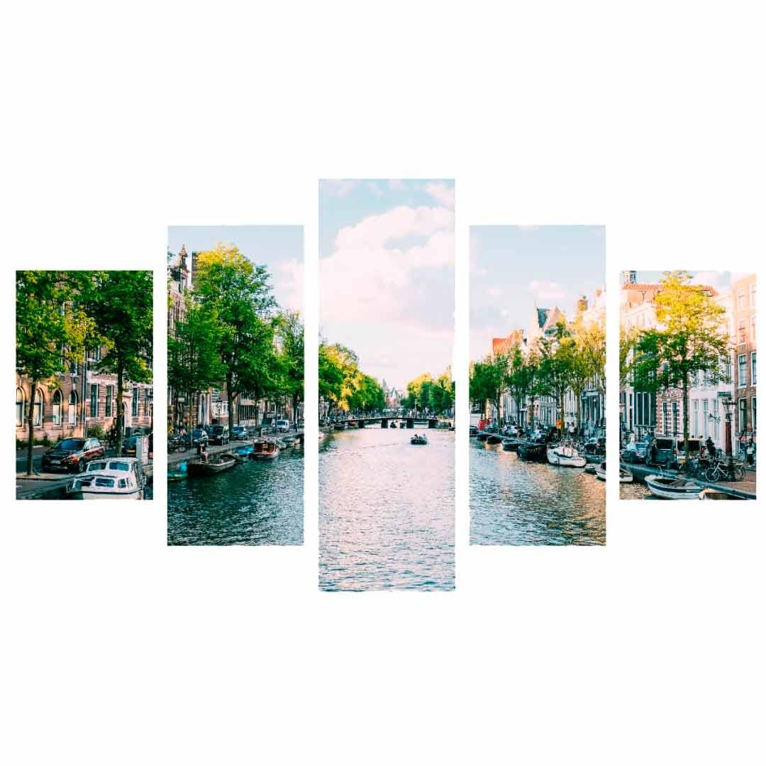 Conjunto de 5 quadros decorativos em Canvas - Amsterdam