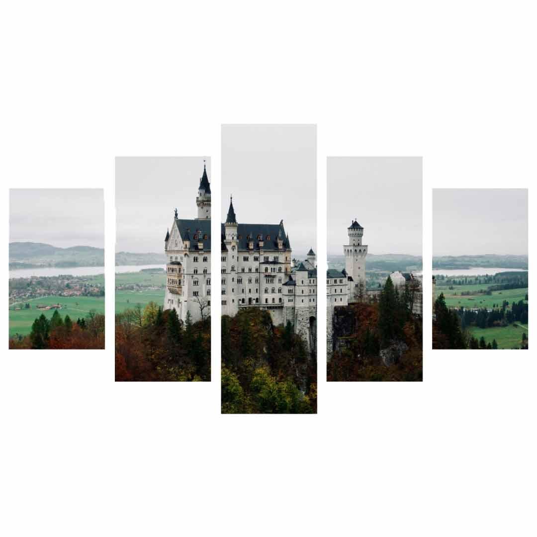 Conjunto de 5 quadros decorativos em Canvas - Castelo