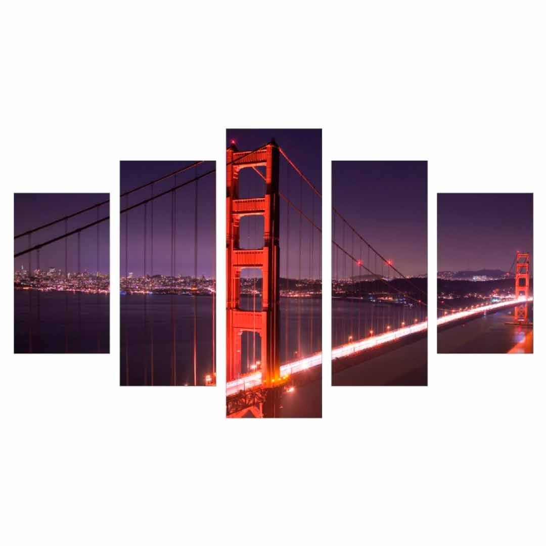 Conjunto de 5 quadros decorativos em Canvas - Golden Gate Bridge