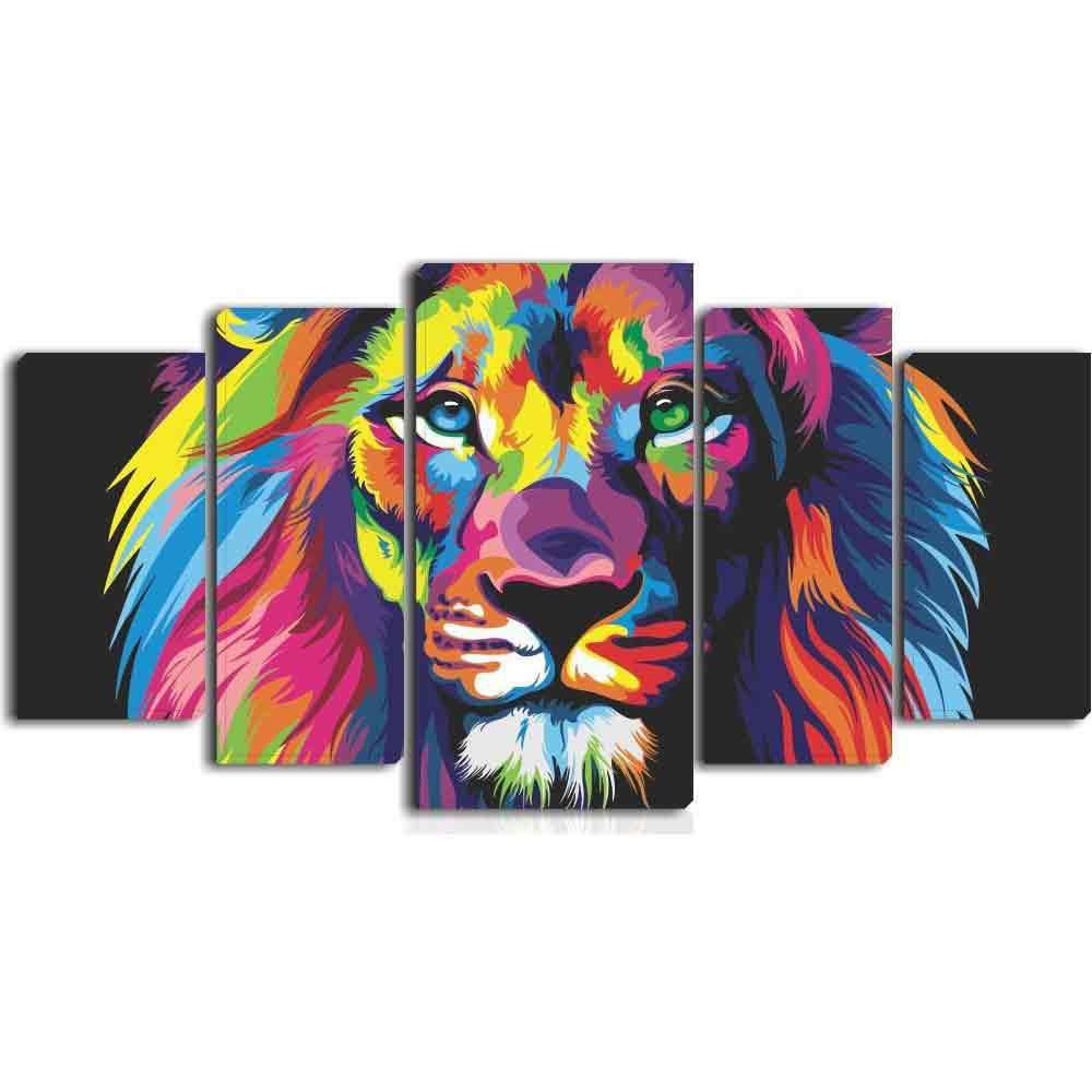 Conjunto 5 telas decorativas em Canvas - Leão color