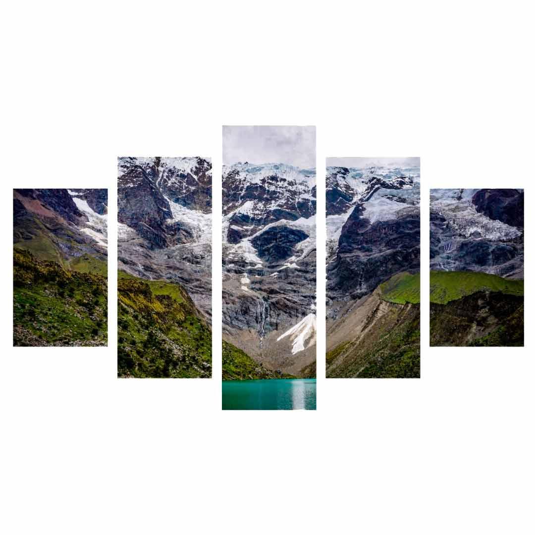 Conjunto de 5 quadros decorativos em Canvas - Montanha
