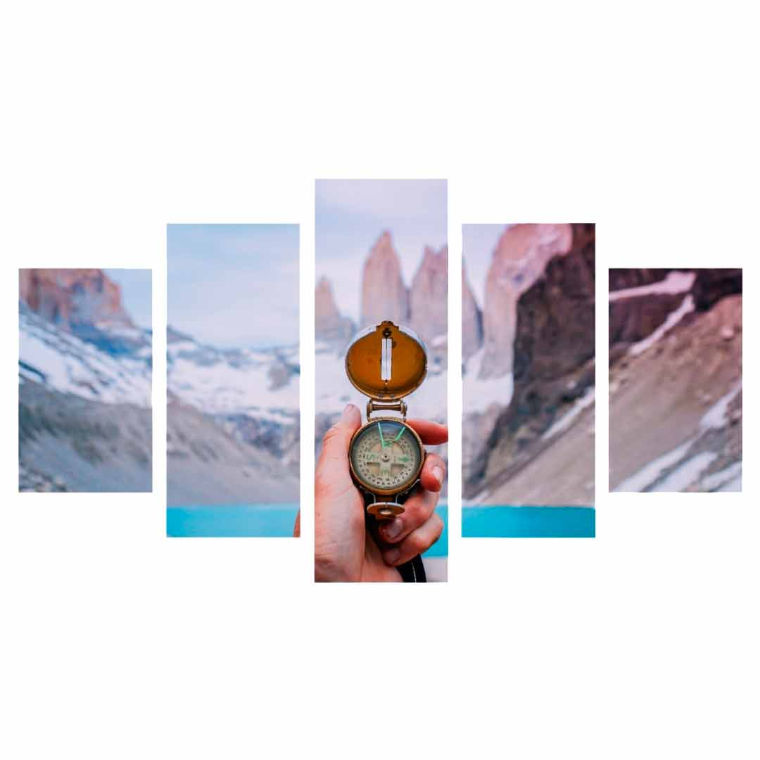 Conjunto de 5 quadros decorativos em Canvas - Paisagem viajante