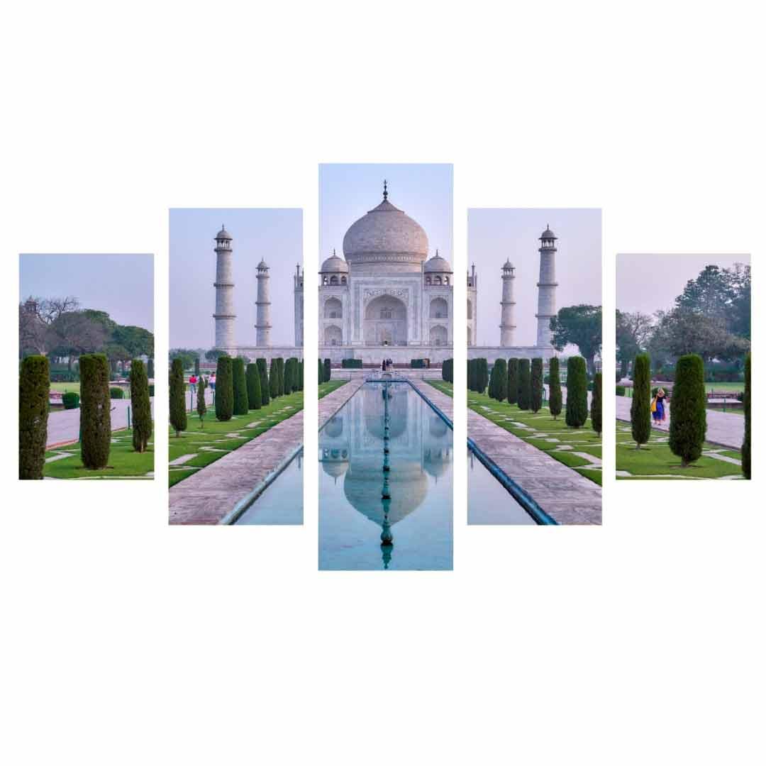 Conjunto de 5 quadros decorativos em Canvas - Taj mahal