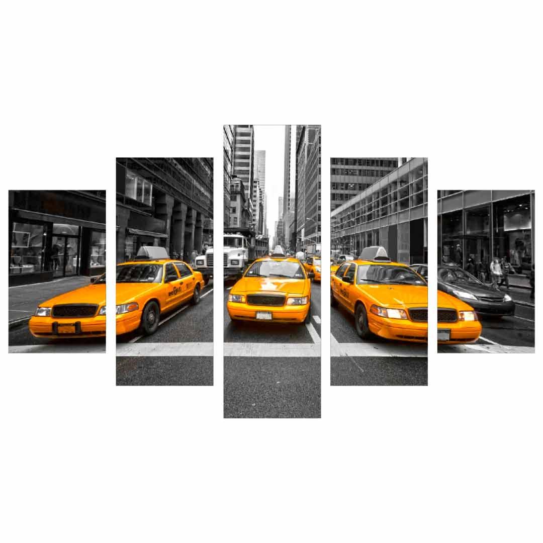 Conjunto de 5 quadros decorativos em Canvas - Taxi