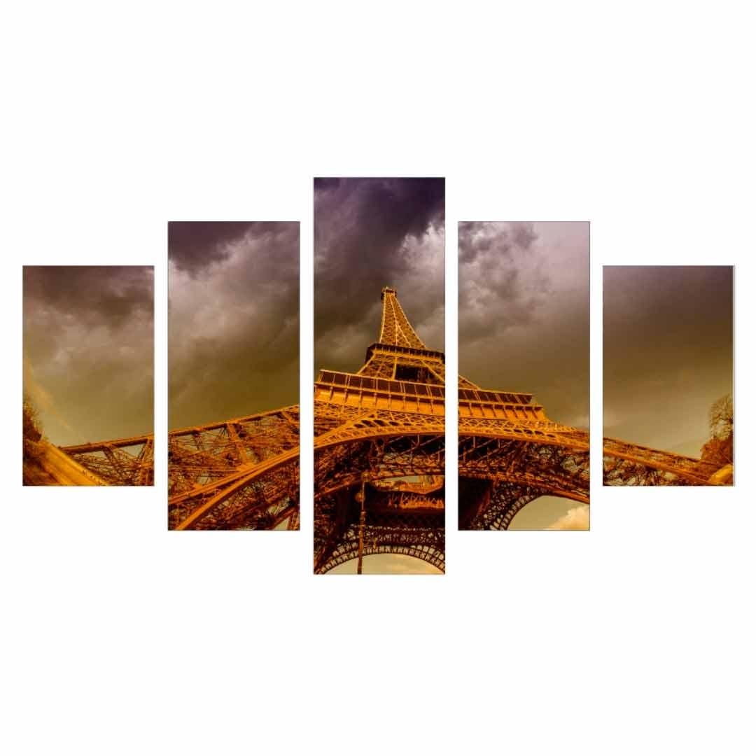 Conjunto de 5 quadros decorativos em Canvas - Torre Eiffel