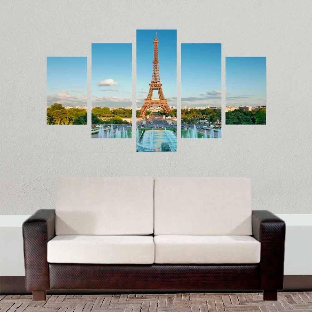 Conjunto de 5 quadros decorativos em Canvas - Torre Eiffel frente