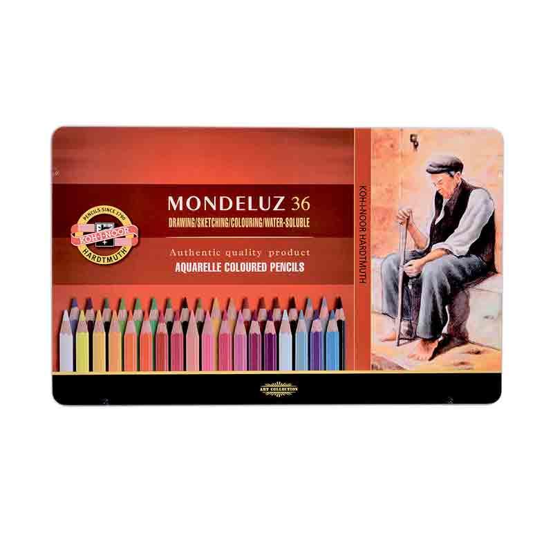 Estojo Metálico 36 cores Aquarelável Mod.3725 Mondeluz