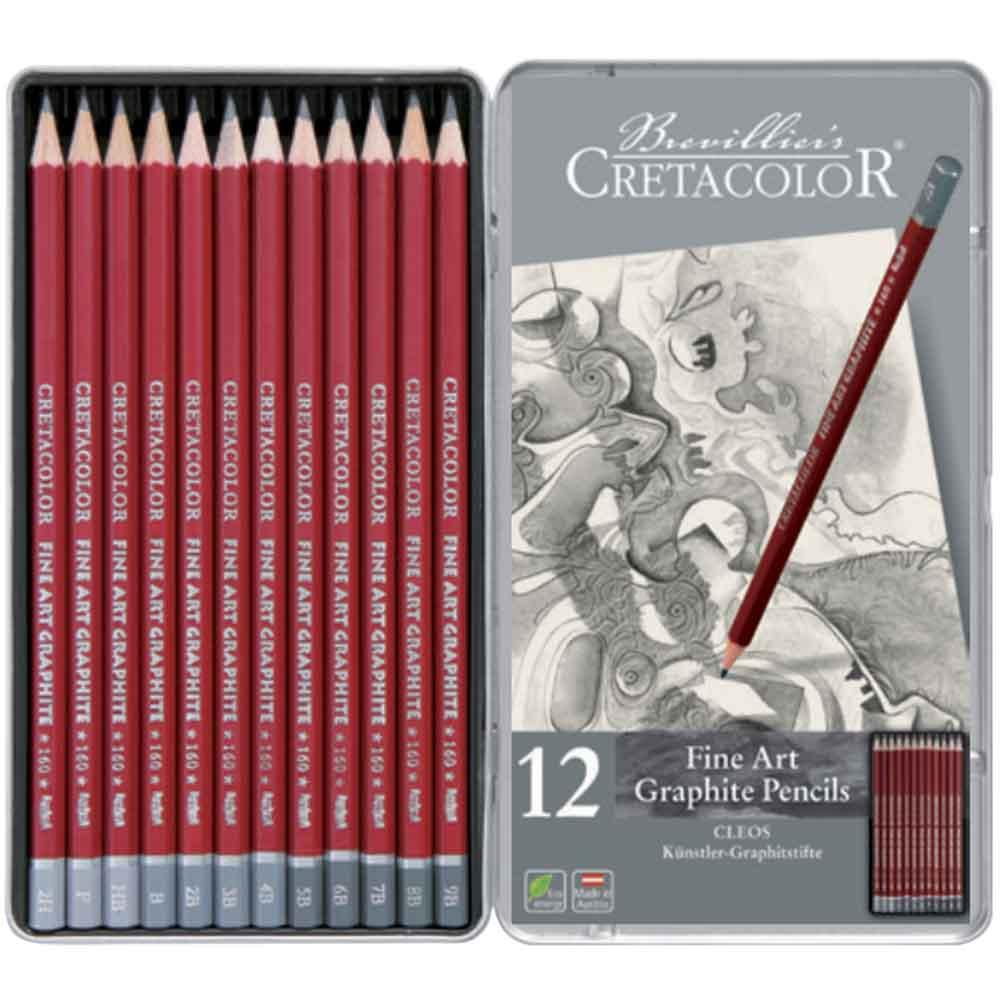 Estojo para desenho 12 peças Cleos 160 52 - Cretacolor