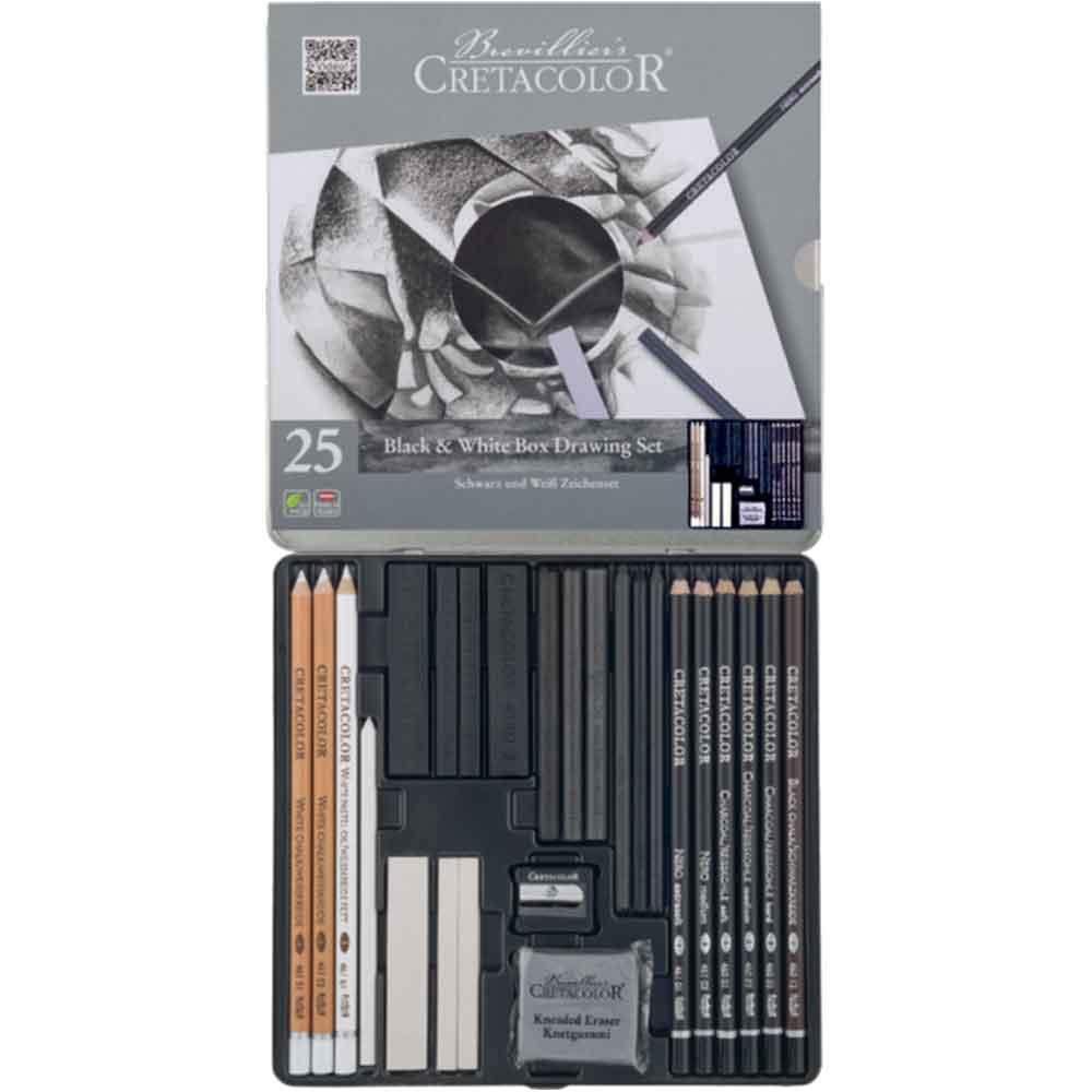 Estojo para desenho 25 peças Black & White Box 400 26 - Cretacolor
