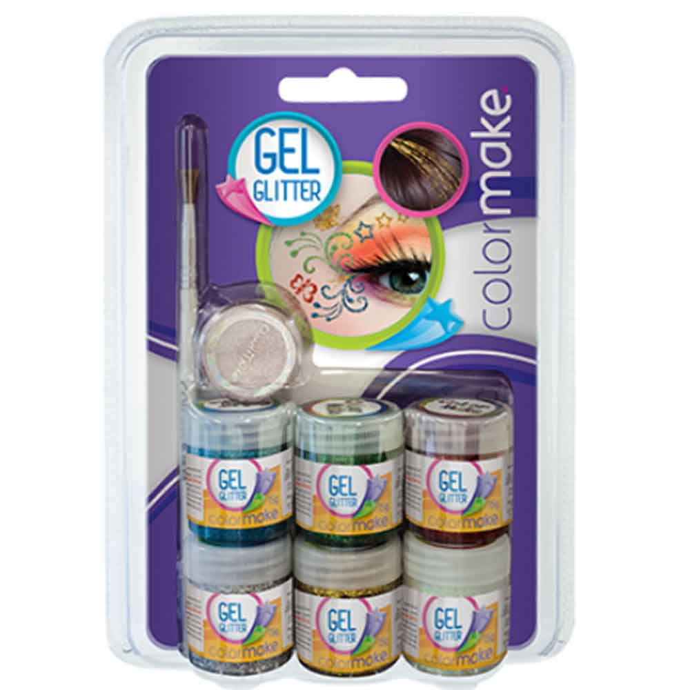 Gel Glitter 6 cores + pincel + sombras ref. 2002 - Colormake