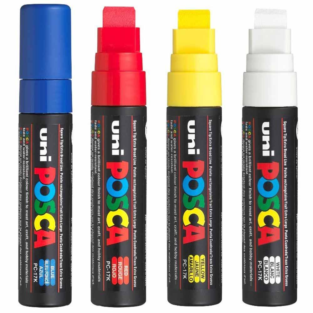 Kit1 Caneta marcador Posca PC-17K com 4 cores