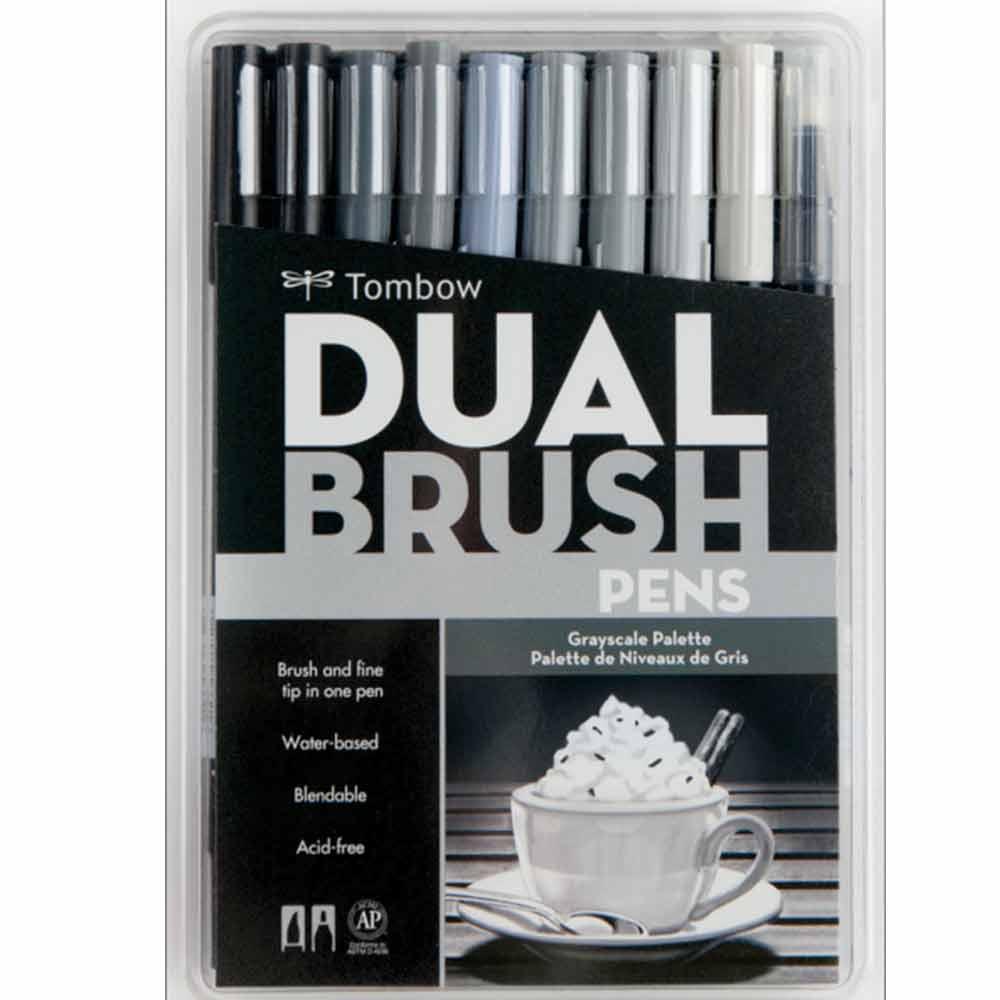 Kit Canetas-pincéis Cores Tons de Cinza Dual Brush c/10 peças Mod.56171 - Tombow
