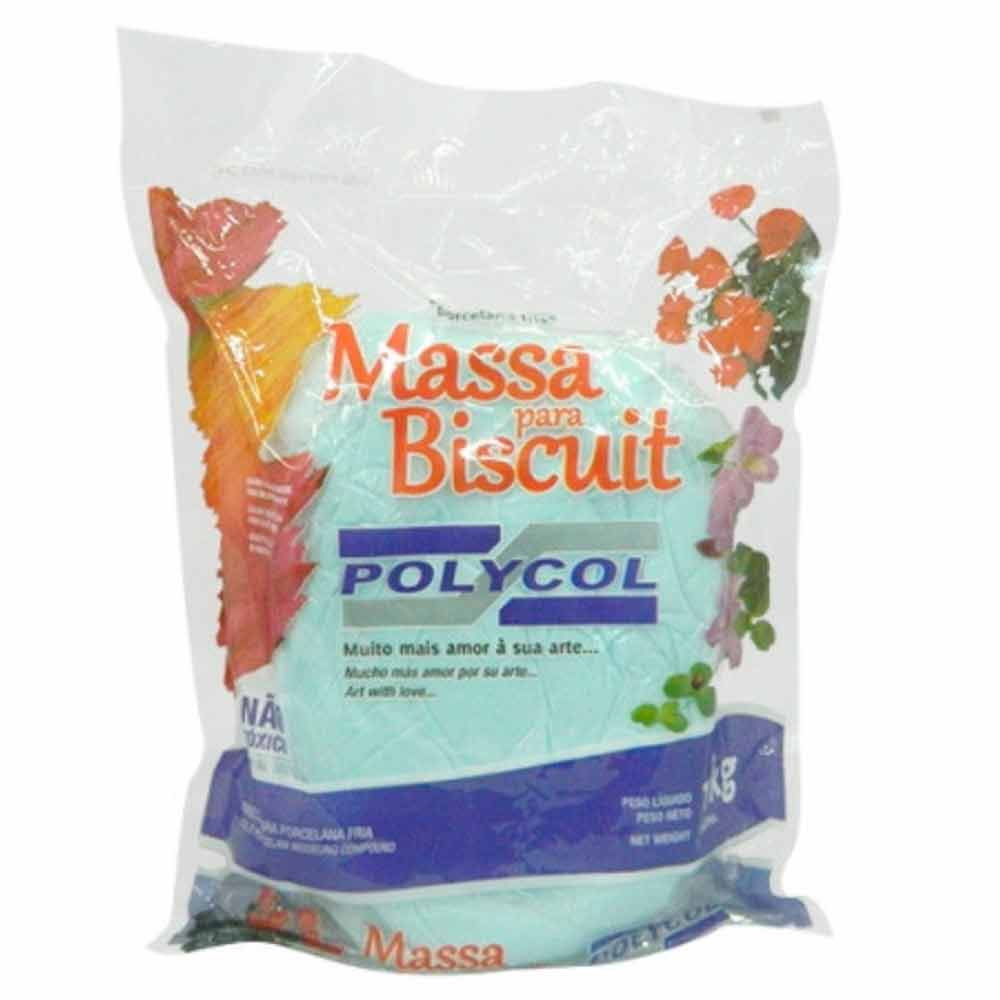 Massa para biscuit 1kg Azul Bebe - Polycol