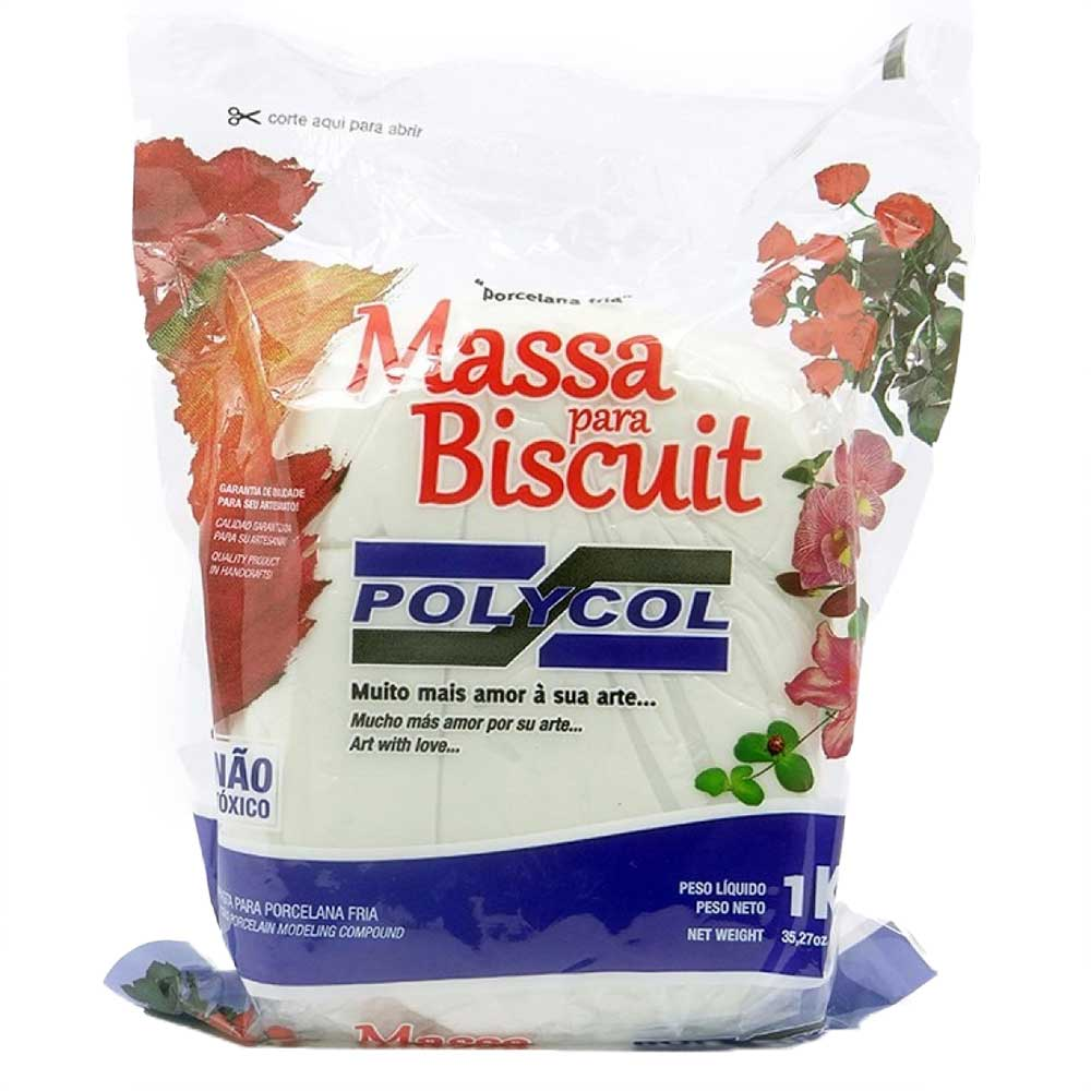 Massa para biscuit 1kg Natural - Polycol
