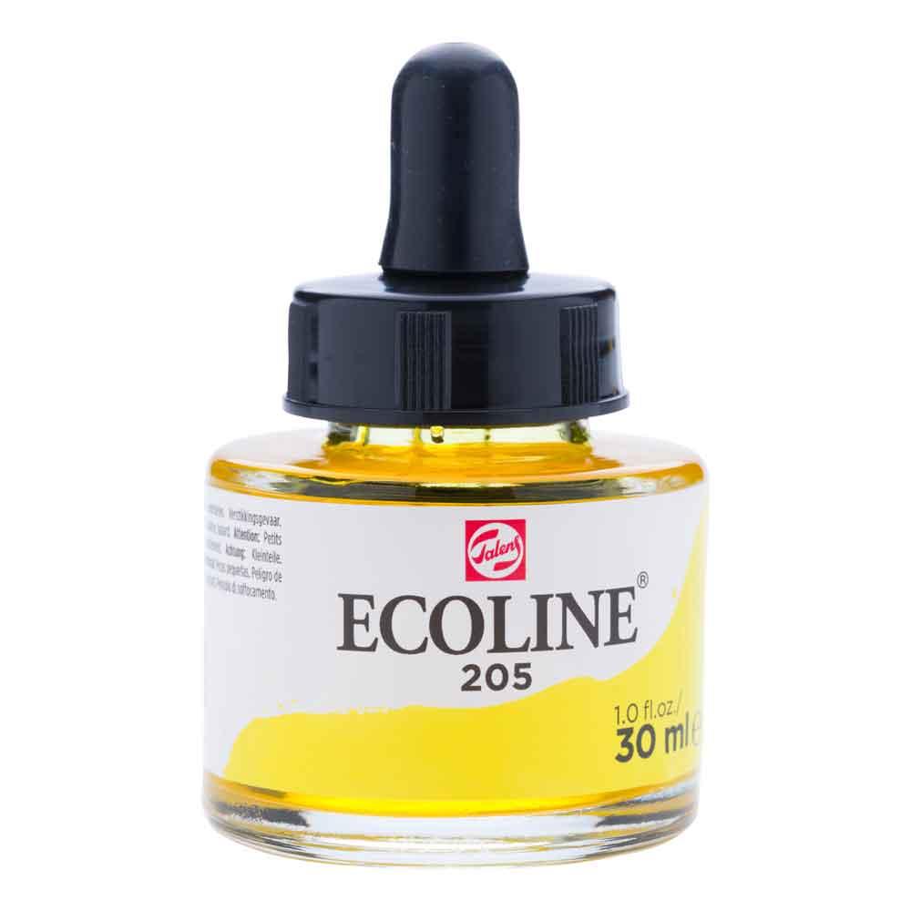 Tinta Aquarela Líquida Amarelo Limão 205 - Ecoline Talens 30ml