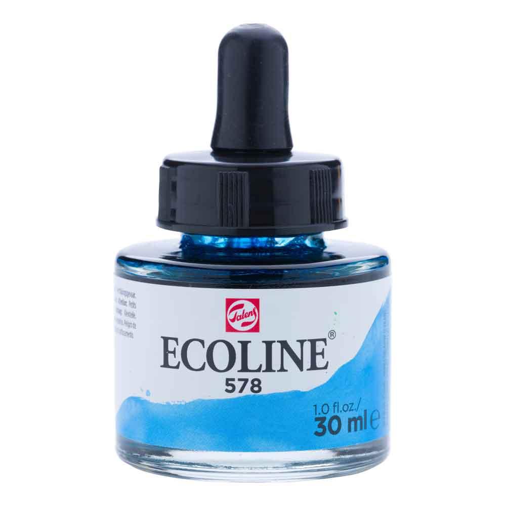 Tinta Aquarela Líquida Azul Céu Ciano 578 - Ecoline Talens 30ml