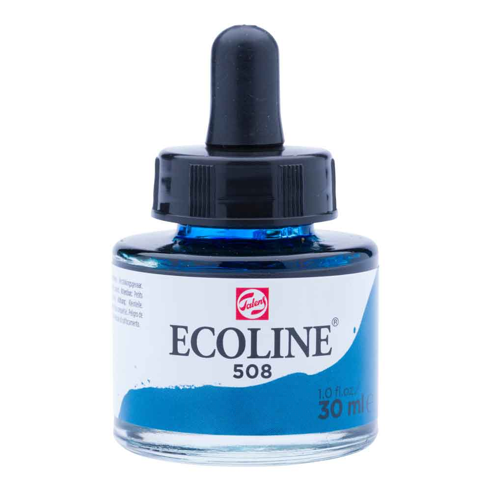 Tinta Aquarela Líquida Azul Prússia 508 - Ecoline Talens 30ml
