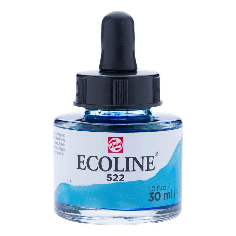 Tinta Aquarela Líquida Azul Turquesa 522 - Ecoline Talens 30ml