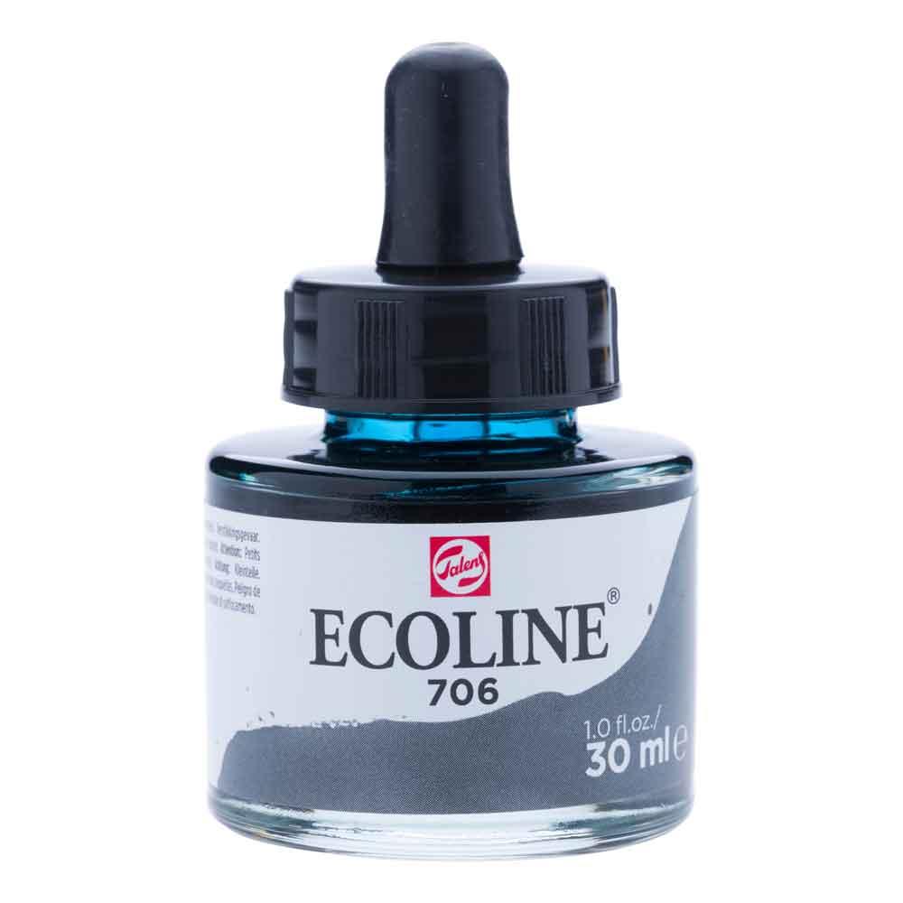 Tinta Aquarela Líquida Cinza Escuro 706 - Ecoline Talens 30ml