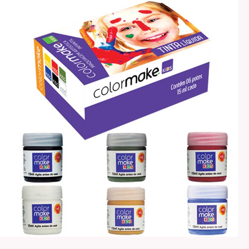 Tinta Líquida Kids 06 cores ref. 1211 - Colormake