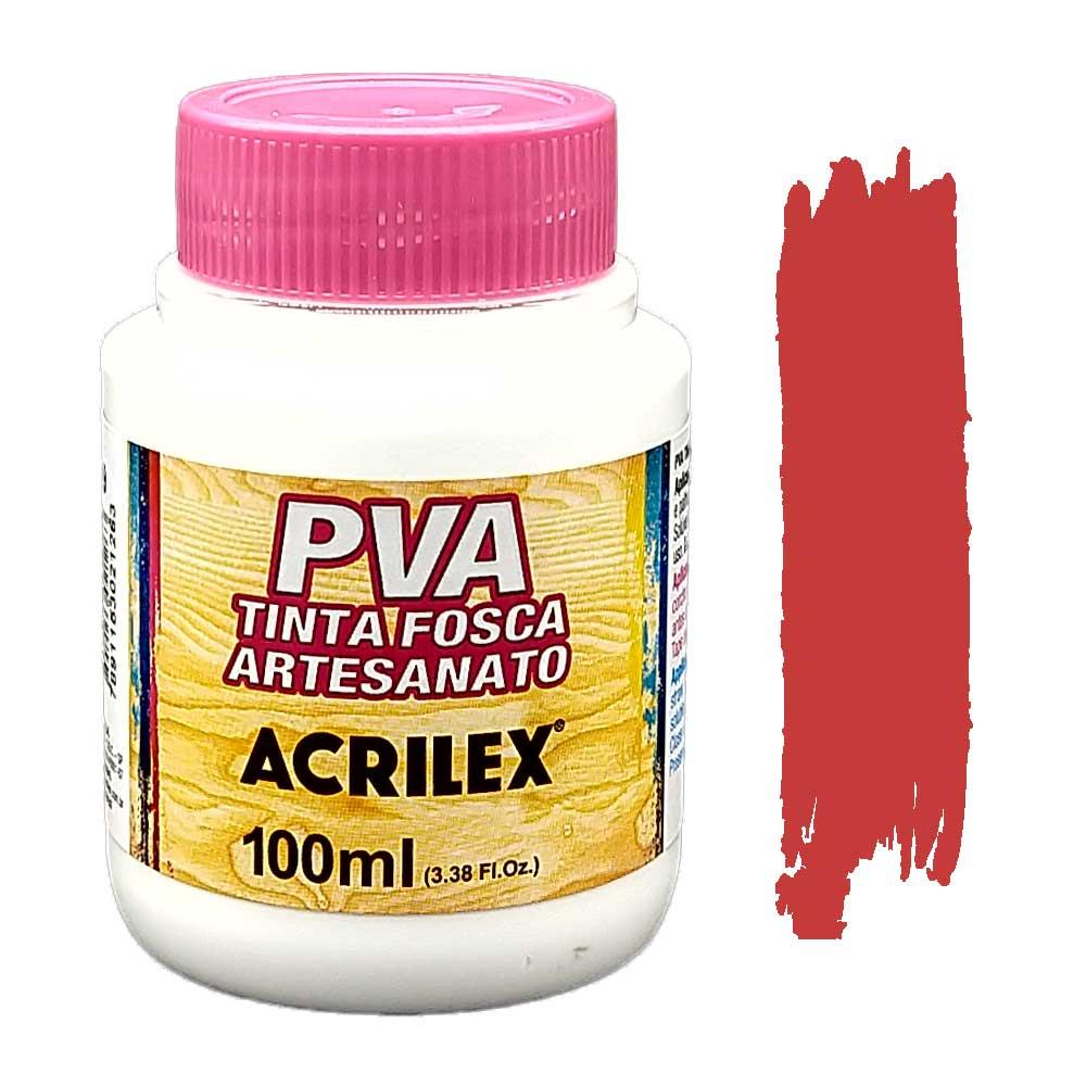 Tinta PVA fosca 100ml Acrilex - 508 Vermelho Escarlate