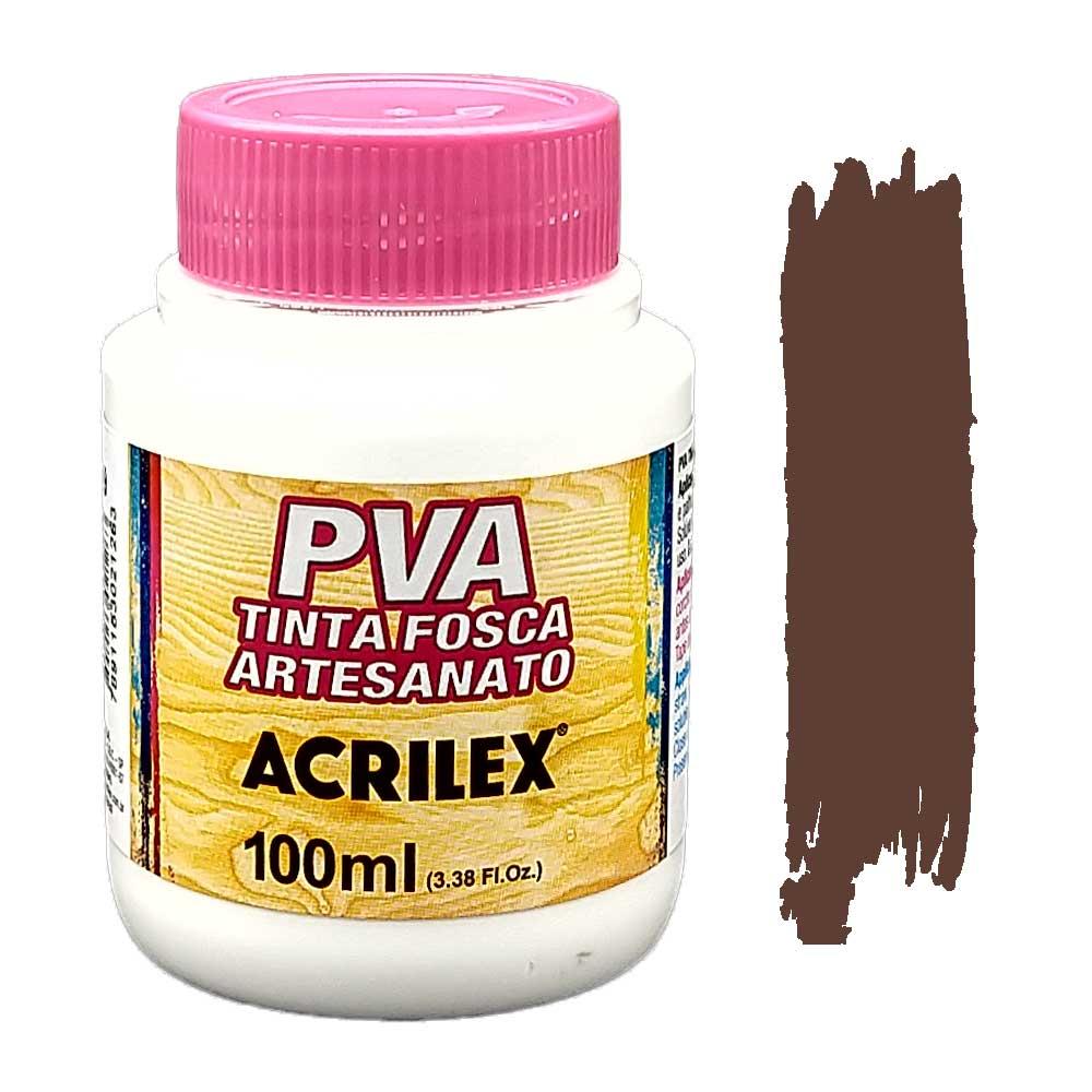 Tinta PVA fosca 100ml Acrilex - 526 Marrom escuro