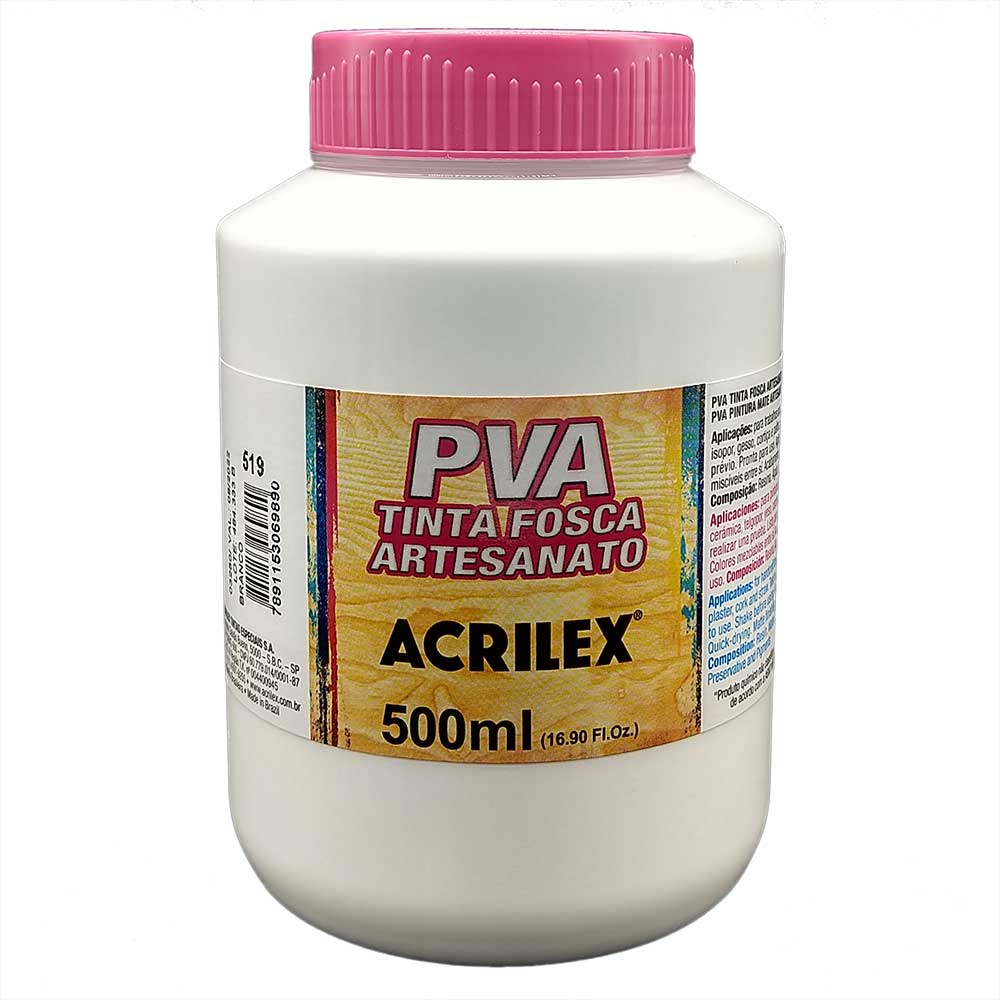 Tinta PVA fosca 500ml Acrilex - 519 Branco