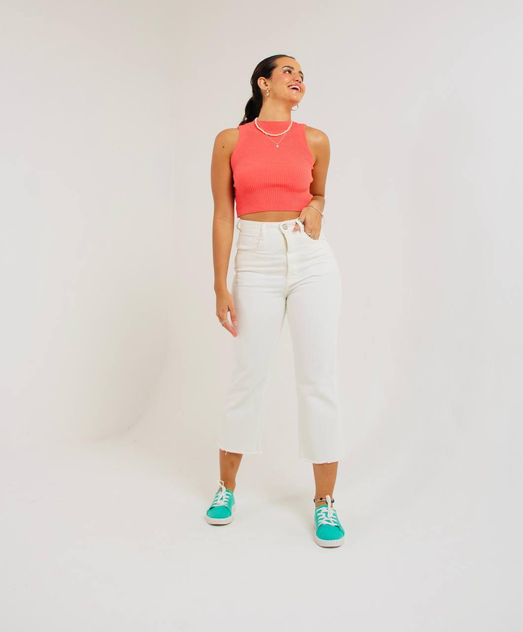 calça MIDI color fun white