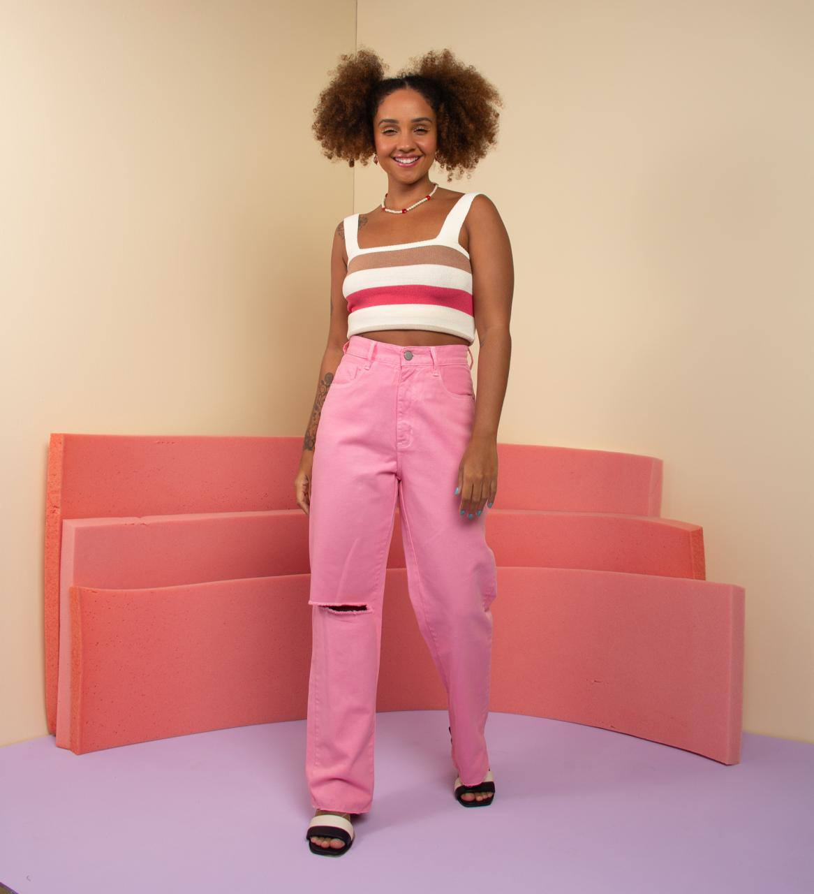 calça wid leg color fun pink