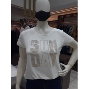 TSHIRT STRASS DOURADO SUN DAY