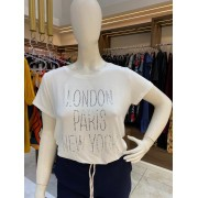 TSHIRT STRASS PRATA LONDON PARIS NEW YORK