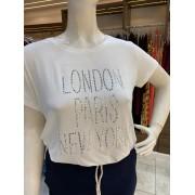 TSHIRT STRASS PRATA LONDON PARIS NEW YORK