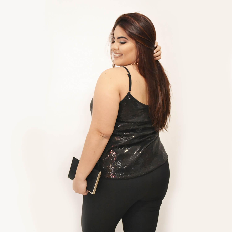 Macacão  Feminino Plus Size com Blusa de Paete - Annual Plus