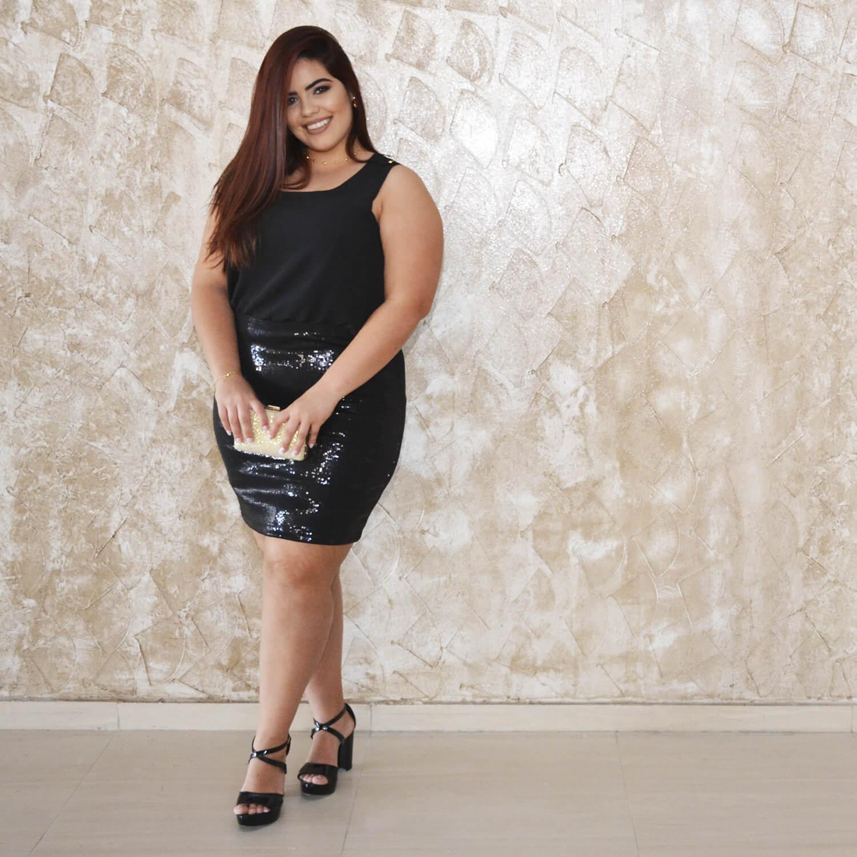 Vestido Feminino Com Saia Paetê Heloísa Plus Size - Annual Plus