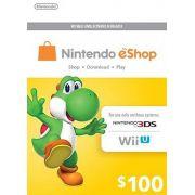 Nintendo eShop Switch / 3DS / WII U - Cartão $100 Dólares - USA
