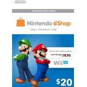 Nintendo eShop Switch / 3DS / WII U - Cartão $20 Dólares - USA