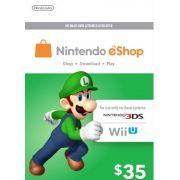 Nintendo eShop Switch / 3DS / WII U - Cartão $35 Dólares - USA