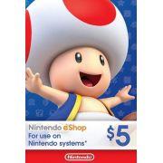 Nintendo eShop Switch / 3DS / WII U - Cartão $5 Dólares - USA
